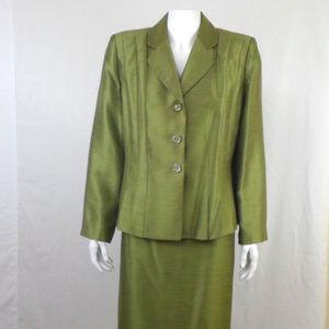 LE SUIT Green 2 Piece Skirt Suit 14P